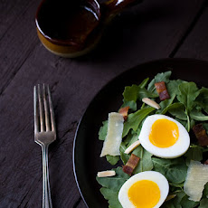 Arugula Salad with Soft Boiled Eggs, Bacon, and Shallot Dijon Vinaigrette