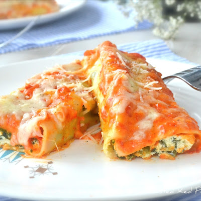 Vegetable Lasagna Rolls with Roasted Red Pepper Sauce
