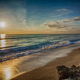 Radiant Sunrise by Sandy Friedkin - Landscapes Sunsets & Sunrises ( ocean, sunrise, beach, rocks, golden light,  )