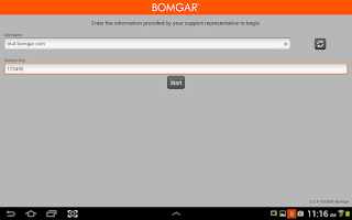 Screenshot of Bomgar for Samsung