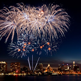 Thrive   Philadelphia 4th of July by Brandon Ku - City,  Street & Park  Night ( skyline, pa, philly, fireworks, burst, night, philadelphia )