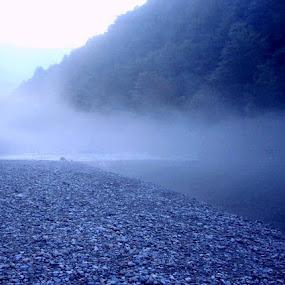 Blue Fantasy  by Nat Bolfan-Stosic - Uncategorized All Uncategorized ( fantasy, blue, fog, world, river )