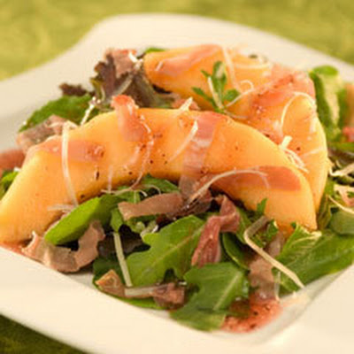 Prosciutto & Melon Over Spring Mix