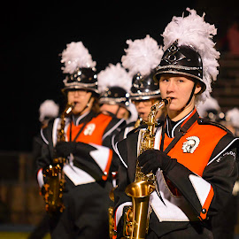 Marching Band by Tristan Boeckman - People Musicians & Entertainers ( musical instrument, band, football, high school, saxophone, sports )