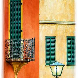 Balcony for Two by Randy Collier - Digital Art Places ( orange, portofino, light post, italy, balcony )
