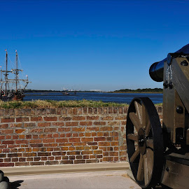 Target of Opportunity by Dub Scroggin - City,  Street & Park  Historic Districts ( savannah river, tall ship, target, fort jackson, artillery )