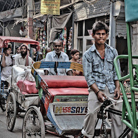Public Transportation by Galli Levy - City,  Street & Park  Street Scenes ( ride, street, india, transportation, bicycle, land, device )