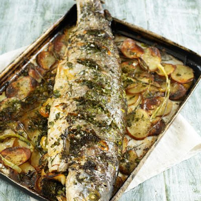 Whole Roasted Salmon Stuffed With Lemon & Herbs