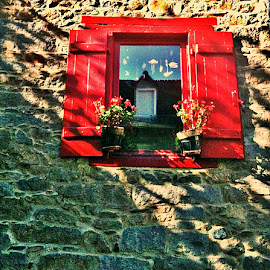 Red Window by Dobrin Anca - Buildings & Architecture Other Exteriors ( reflection, red, window, france, sunshine,  )