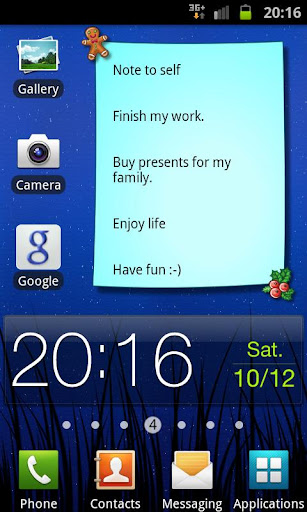 Christmas Note Widget
