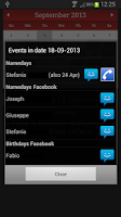 Screenshot of Namedays and Birthdays Lite