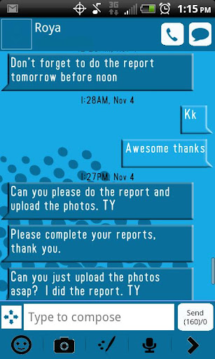 GO SMS THEME BLUE