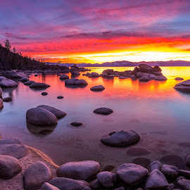 Light My Fire by Mike Lindberg - Landscapes Sunsets & Sunrises ( alpine lake, reflection, sierra nevada, mountain lake, eastern sierra, california, nevada, tahoe, sierra, lake tahoe, Earth, Light, Landscapes, Views )