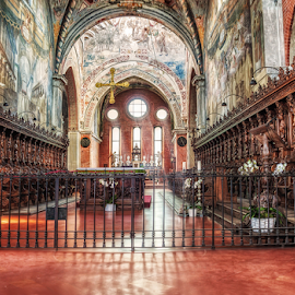 Abbey of Chiaravalle by Andrea Conti - Buildings & Architecture Public & Historical ( abbazia, arcades, interior, milan, altar, church, ital, architecture, worship, catholic, italia, ceiling, chiravalle, paintings, milano, frescos, choir, abbey )