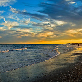 Late afternoon at Riis by Ioannis Alexander - Landscapes Beaches ( clouds, rockaways, waves, reflections, new york, jacob riis park,  )