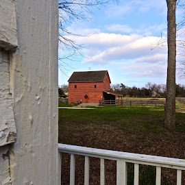 Peeking At the Barn by T. Rick Jones - Buildings & Architecture Other Exteriors ( red, village, barn, peek, new jersey )