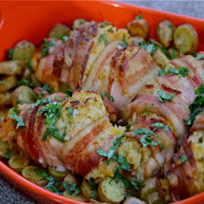 Bacon-Wrapped Chicken, Cheddar, and Jalapeno Parcels With Fingerling Potatoes