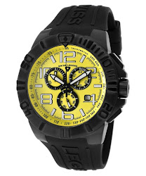 Swiss Legend Men's Super Shield Chronograph Yellow Dial Black IP Case Black Silicone SL-40118-BB-07 Watch