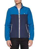 Penguin Colorblock Zip Tech Jacket, Dress Blues - (LARGE)
