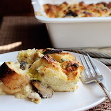 Chicken, Leek, and Mushroom Strata