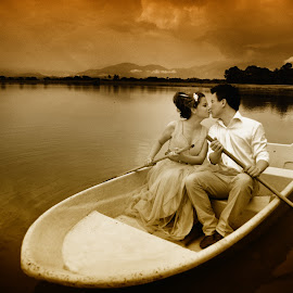 Kiss On The White Boat by Tim Chong - Wedding Bride & Groom ( tim chong, boat kiss )