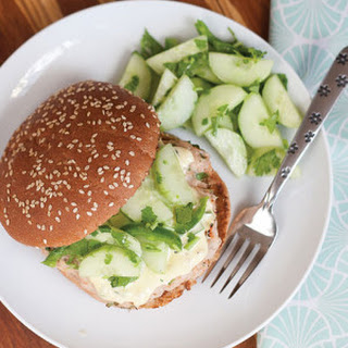 Chipotle Chicken Burgers with Ginger Lime Aioli & Cucumber Salad