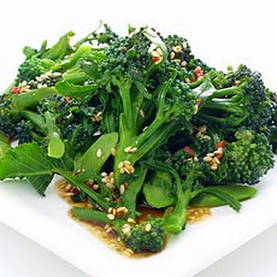 Purple Sprouting Broccoli with Chilli and Sesame Dressing