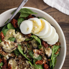 Egg, Spinach, and Spelt Salad with Green Garlic Dressing