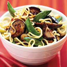 Asian Noodle Salad with Eggplant, Sugar Snap Peas, and Lime Dressing