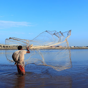 Fisherman by Sheraz Mushtaq - People Professional People ( water, throw, pakistan, sheraz, lahore, sky, fish, bridge, fishing, mushtaq, fisherman, net )