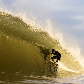 Sammy wrapped in a Golden Barrel by Dave Nilsen - Sports & Fitness Surfing