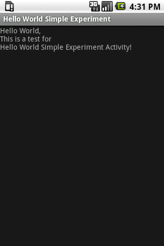 Hello World Simple Experiment