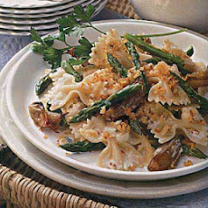Farfalle with Asparagus, Roasted Shallots and Blue Cheese