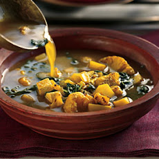 Curried Potato and Spinach Soup with Onion Salsa and Minted Yogurt
