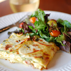 Frittata with Prosciutto, Potatoes, Goat Cheese & Thyme