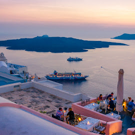 Oia Santorino  by Murat Besbudak - Landscapes Travel ( restaurante, sunset, greece, oia, santorini )