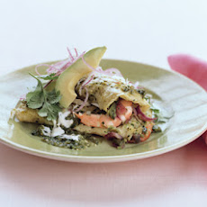 Shrimp and Cotija Enchiladas with Salsa Verde and Crema Mexicana