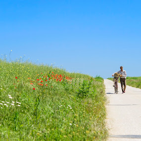 Long Ride in Mid-day Heat by Andreea Alexe - People Street & Candids ( field, narrow, bike, blue, green, long, man,  )