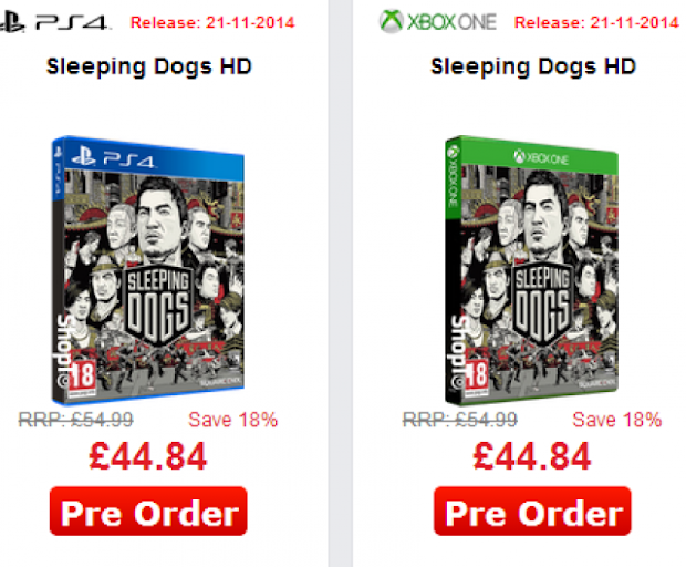 Sleeping Dogs appears listed for next-gen consoles