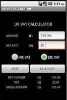 Screenshot of VAT CALCULATOR