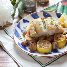 Pan-Seared Cod with Parmesan-Crusted Squash & Roasted Red Potatoes