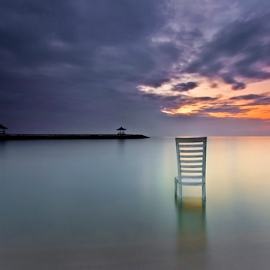 Waiting In Vain by Choky Ochtavian Watulingas - Landscapes Waterscapes ( chair, blue hour, reflections, cloud, long exposure, beach, seascape, sunrise )