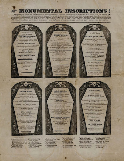 "<b>""Monumental Inscriptions!""</b>  This <a href=""http://www.gilderlehrman.org/collections/b9b3c296-3953-452c-a665-507543326534"">broadside</a> is typical of the attacks on General Andrew Jackson during his second and, this time, successful run for president in 1828. The so-called ""Coffin Handbill"" depicts Jackson as a cold-blooded killer of his own soldiers during the Creek War of 1813–1814. Within each coffin is the name of a soldier and the allegedly minor charges for which he was executed."