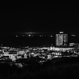Night Town  by Han  Choo - Landscapes Prairies, Meadows & Fields ( hill, miri, night photography, black and white, town, sarawak )