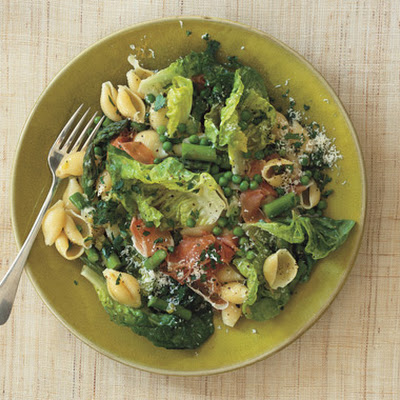 Pasta with Peas, Asparagus, Butter Lettuce, and Prosciutto
