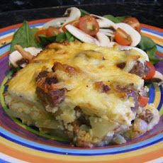 Make Ahead Sausage, Cheese, and Potato Egg  Bake