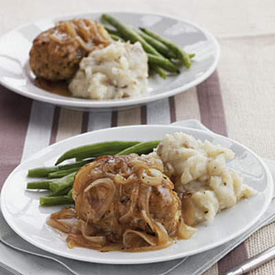 Sage Turkey Meat Loaves with Onion and Cider Gravy