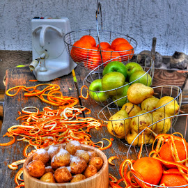 Fritters on fruit table by Zeljko Kliska - Food & Drink Cooking & Baking ( fruit, fritters, food, eating, table )