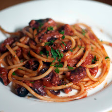 Dinner Tonight: Bucatini with Rita's Spicy Baby Octopus Sauce
