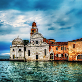 Venezia, chiesa di San Michele in isola by Andrea Conti - Buildings & Architecture Public & Historical ( clouds, laguna, church, sea, architecture, seascape, san michele in isola, venezia, italia, venice, buildings, chiesa, italy )